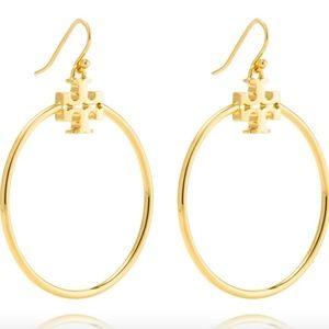 Tory Burch earrings logo gold hoop earrings